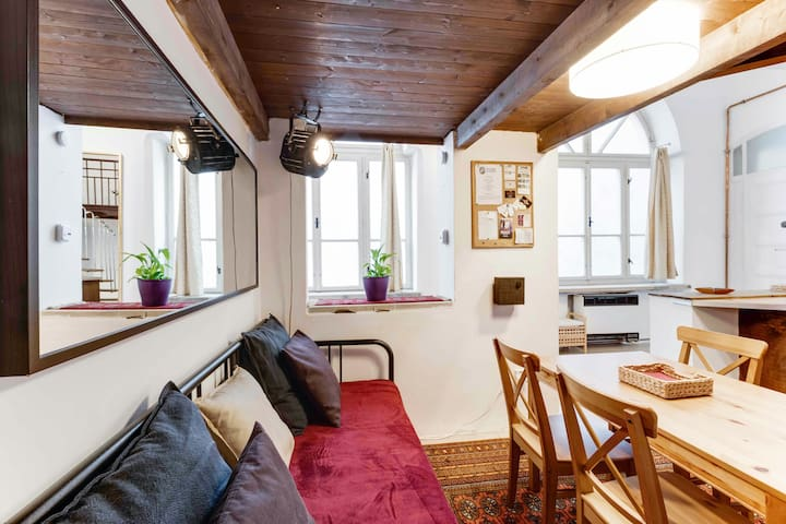 Breath the history in original cozy apartment in 300 years old building next to Wenceslas Square. Live in quiet hideaway at heart of Prague, minutes from the Old Town and all historical attractions. Two bathrooms, high speed wi-fi, Netflix, kitchen.