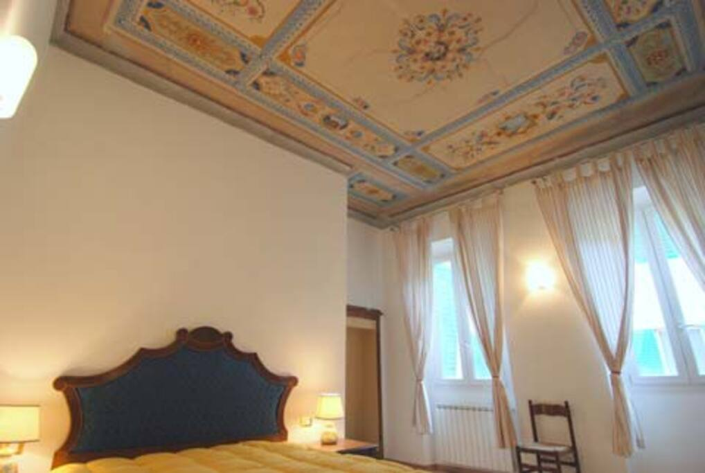 master bedroom with affreschi painted ceilings