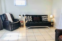 Brand new luxurious recliner chair! Brand new futon sofa, too! We always have extra linens if you'd prefer to sleep on the futon!