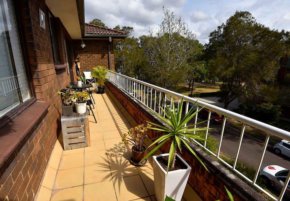 Balcony with lake views