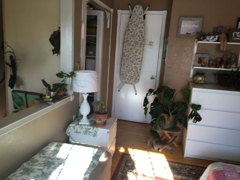 This loft-like room opens up to hallway. My guest also have use night stand to unpack and feel at home