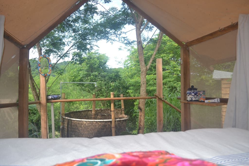 Your jungle view from the bed with outdoor shower