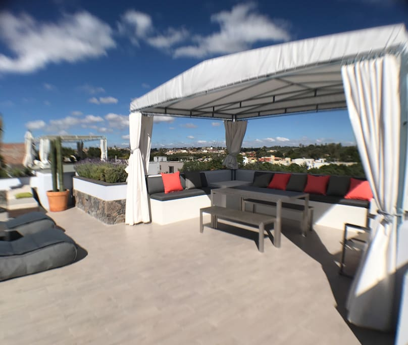 Phenomenal roof terrace loved by all with views in every direction. Tented canopy for dining al fresco or just relaxing.