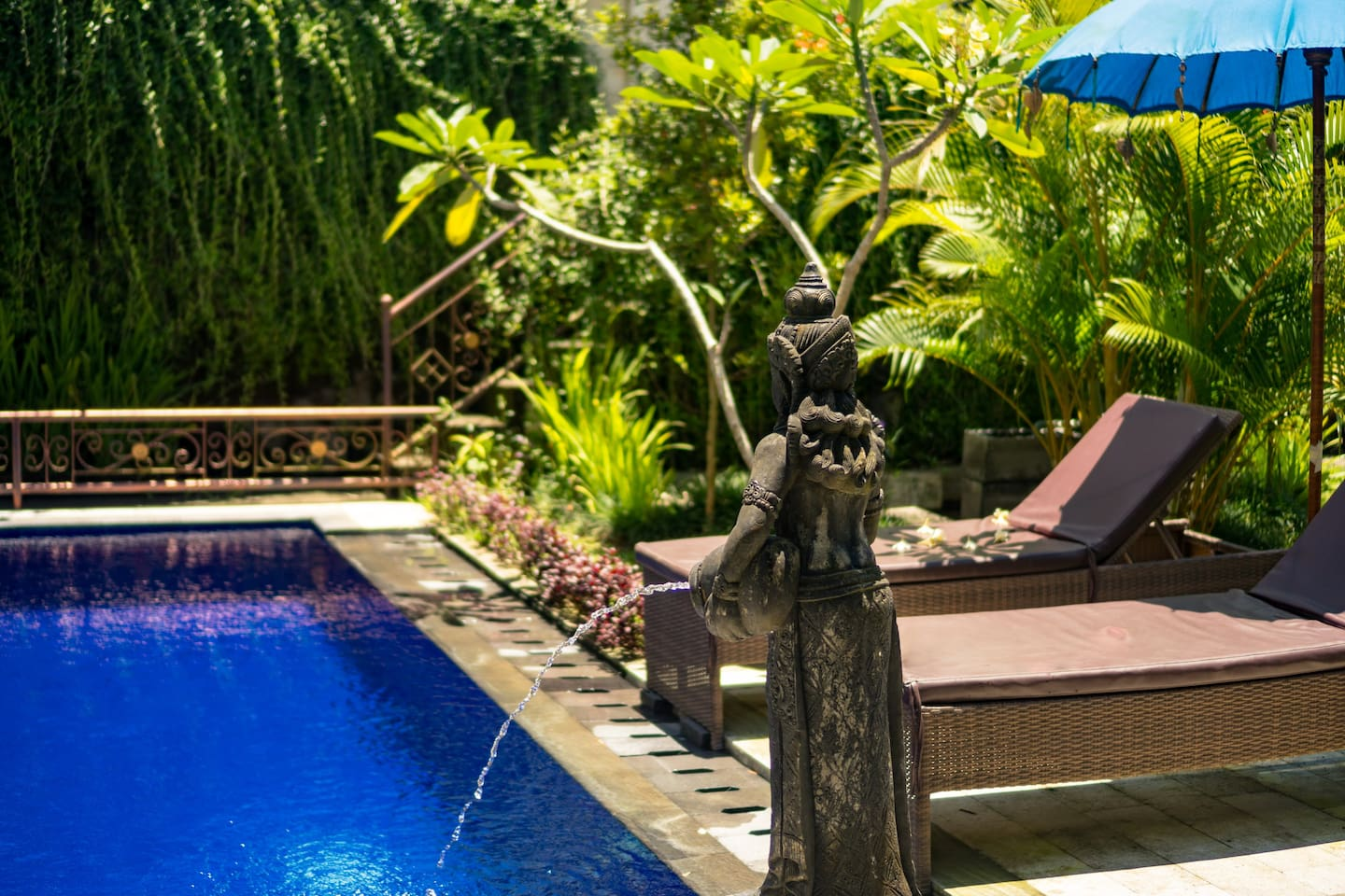 Private pool with specious private garden