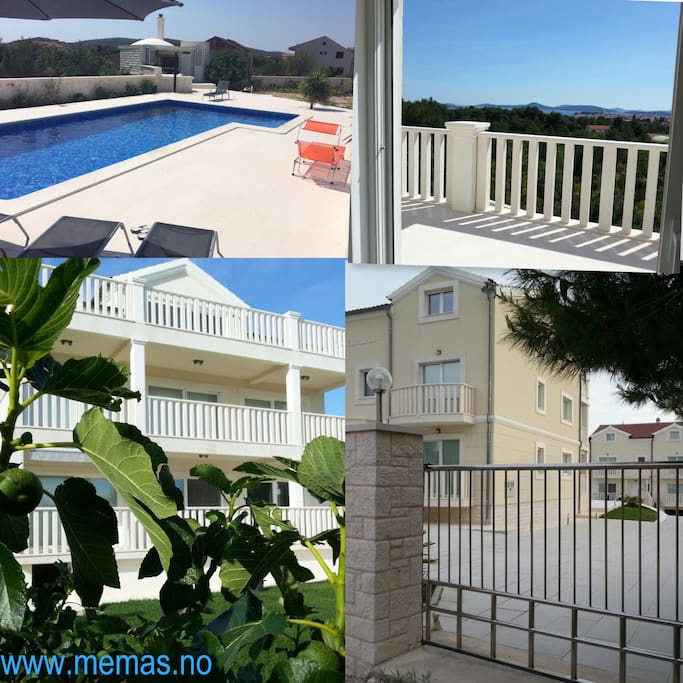 Collage, swimming pool, terrace and exterior