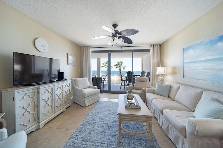 Newly Listed 3Bed/2Bath Beach Front Condo with Updated Coastal Decor!