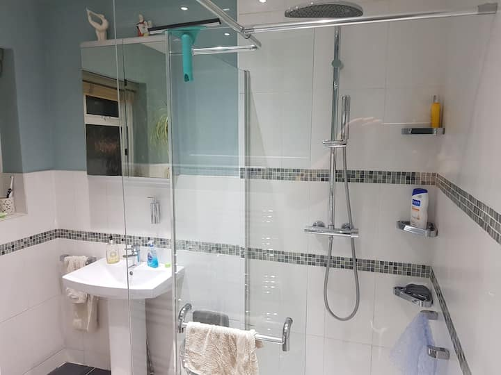 Large room with TV. Modern shared bathroom with 1