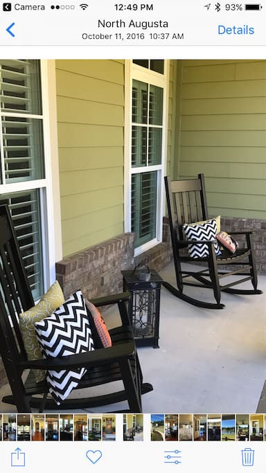 After a long day at the Masters, sit and relax on the front porch