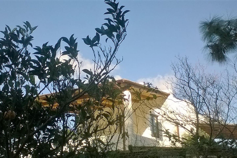 vista della stanza con terrazza dal giardino