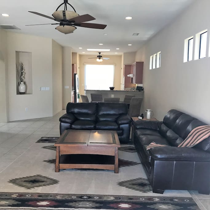 Living room with kitchen beyond