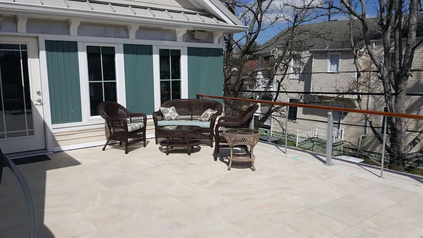 Spacious 500 sf furnished roof-top deck