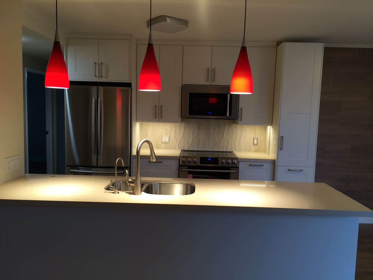 newly renovated, quartz countertops with new stainless appliances.