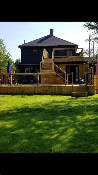 Backyard and 2 level patio