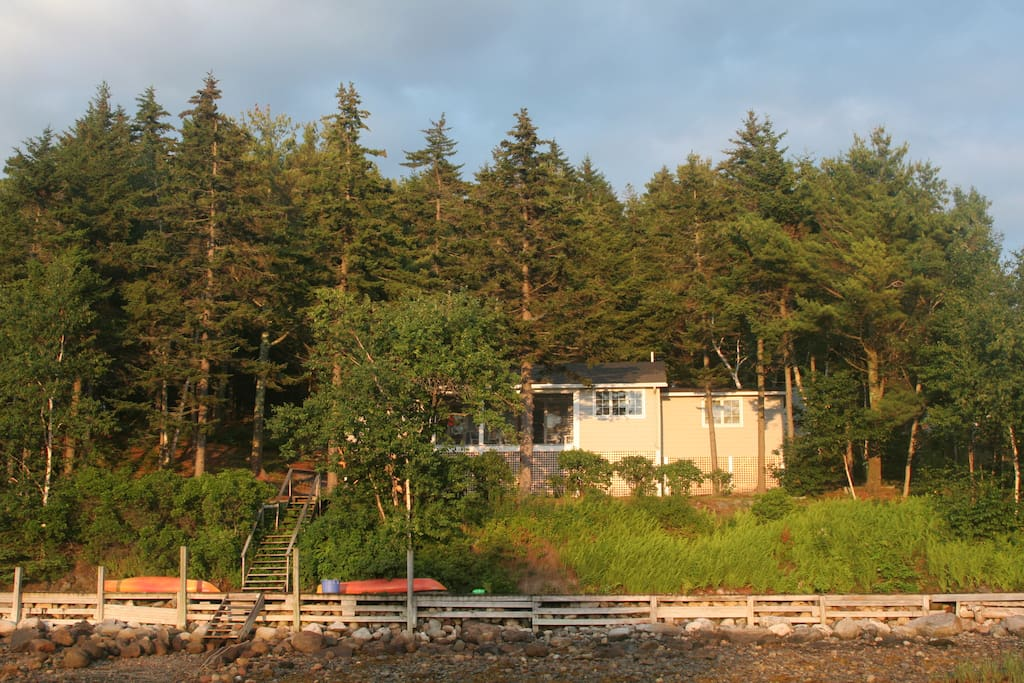 The view of the front of the cottage from the cove at low tide. Kayaks on the boardwalk are also available for guest use!