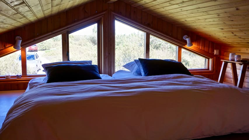Guest house. Bedroom 6. Cozy sleeping loft with 2 good single beds that can be pushed together if wanted.