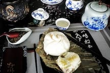 Chinese sticky rice, and steamed bun.
