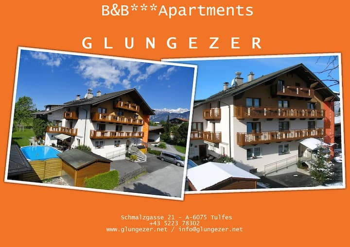 Un letto nel B&B GLUNGEZER a Tulfes / Innsbruck