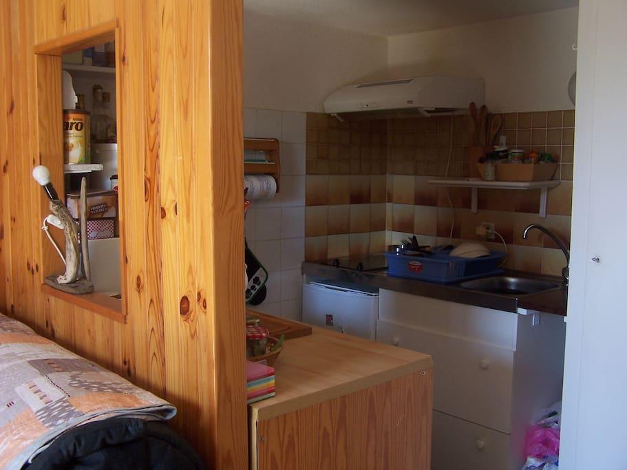 côté cuisine : plaque vitro céramique + micro ondes + mini four +  petit réfrigérateur + mini congélateur + machine à laver