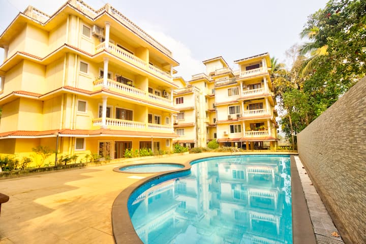 1)Comfy 1BHK Pool View Apt for 4 near Calangute