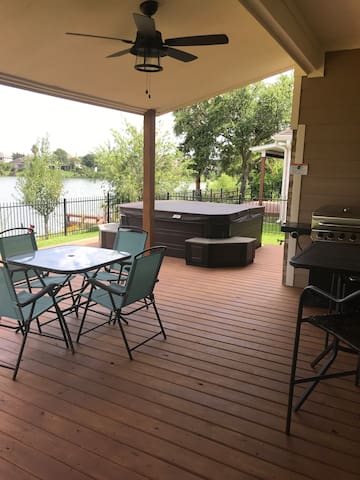 New hot tub and patio for outdoor fun