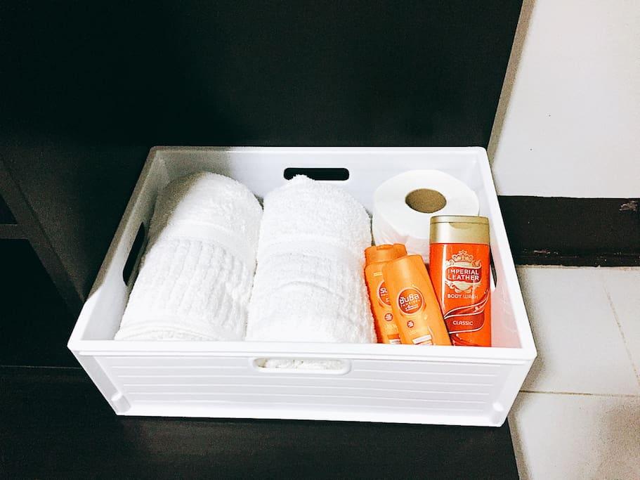 Amenities - towel, shampoo, conditioner, shower gel, etc.