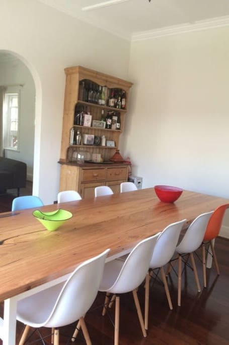 Dining room with large timber table