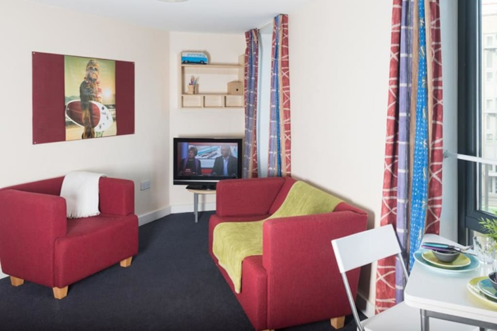 Each 3 bed flat has a shared sitting room with tv, dining and kitchen areas