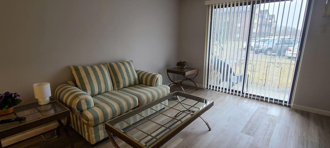 Living room onto patio