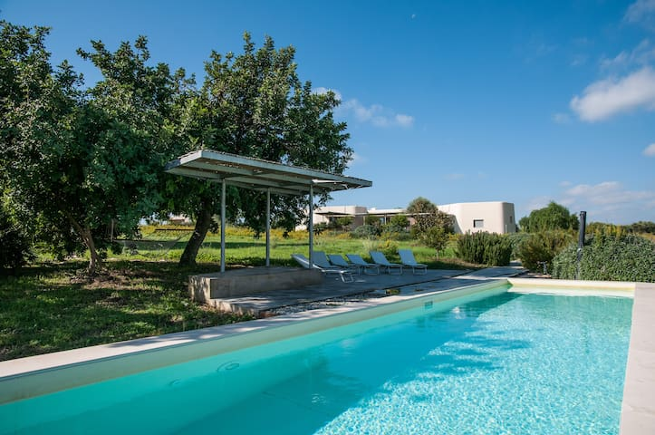 Swimming pool in exclusive use, shadow under the pergola and the carob tree
