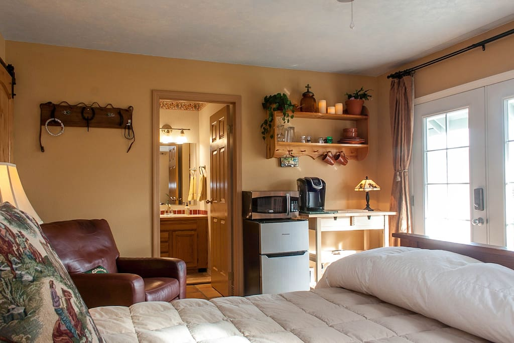 Large Guest Suite with private french door entrance, kitchenette, full bath, walk-in closet, cozy leather recliner