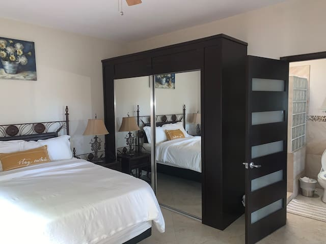 Bedroom room 2 has direct access to an adjoining bathroom.