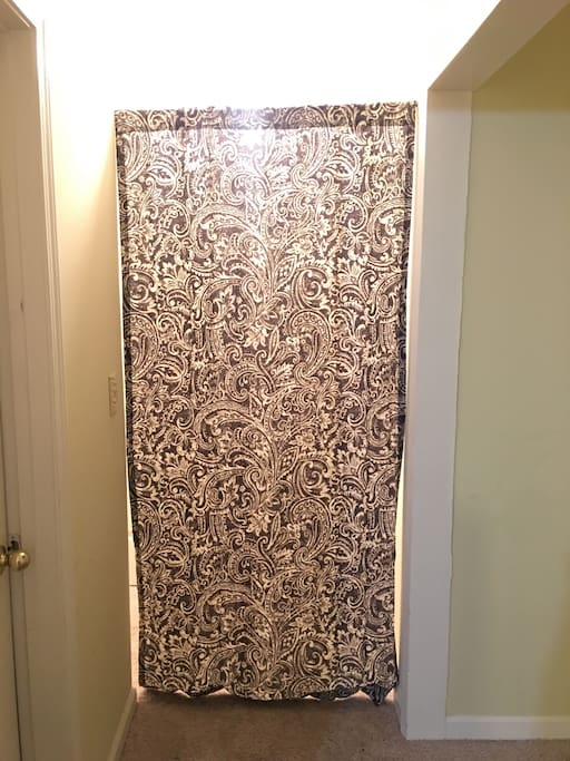 Curtain demarcation to your space. It gives an additional privacy from the bedroom to the bathroom.