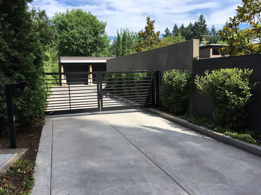 The entire property is gated and fenced.  This is where you will enter.  Friendly dogs may greet you.