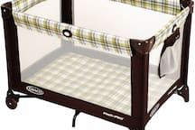 Pack 'n' Play like this one available along with a sturdy high chair upon request.