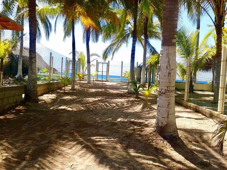 Vista de la casa a la playa, zona privada
