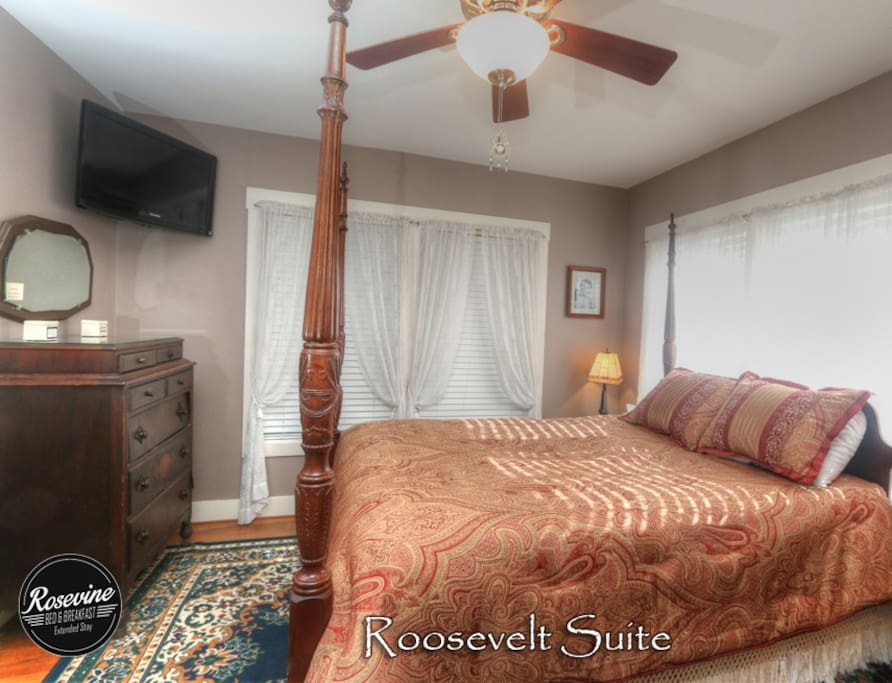 Pillow-top Mattress and period furnishings are just one way modern comfort melds with vintage beauty