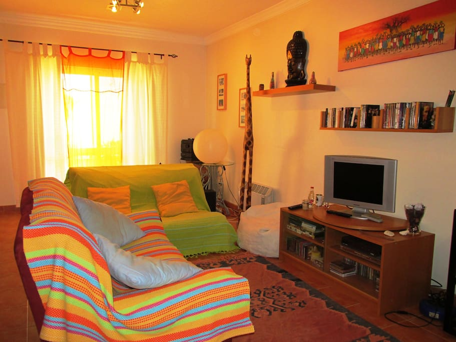 living room with sofa bed for 2, cable TV and wifi