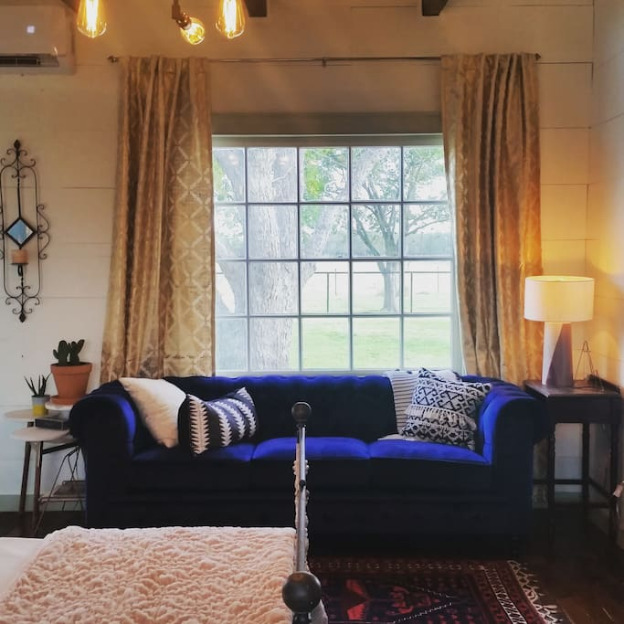 Enjoy your morning coffee on our blue velvet fainting couch.