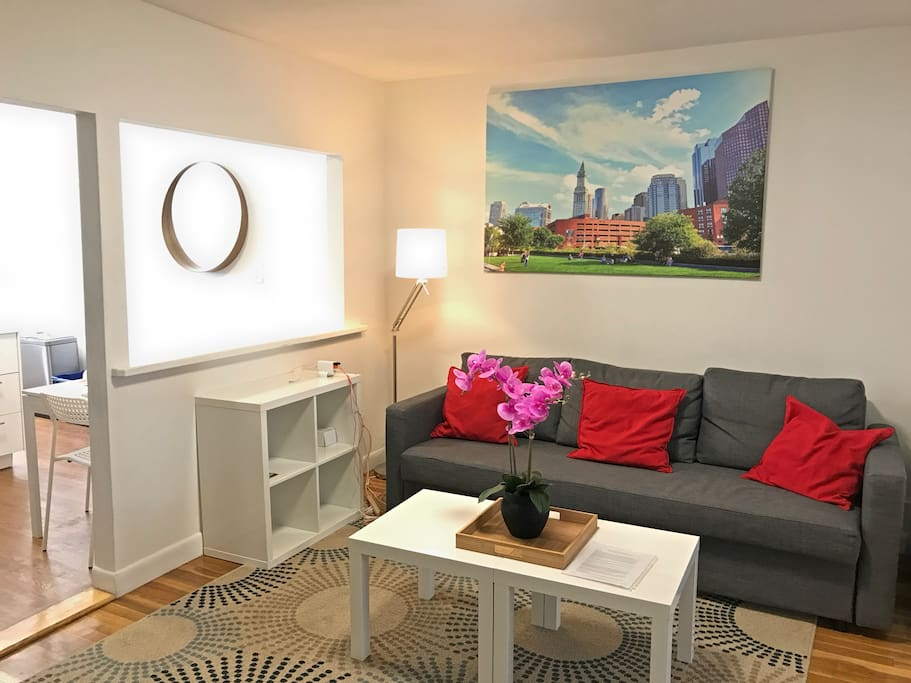"""Living room with sofa that converts into a full size bed. Stored within the bed are 400 count sateen bed sheets, luxury pillows, warm soft comforter. The room has a large 50"""" Roku Smart TV that allows you to stream many channels and sites including Hulu, Netflix, Amazon Video, and also has an HDTV antennae. All of the art in our units are photos that are taken by your host Mac (me) and are all of local Boston sites and views."""