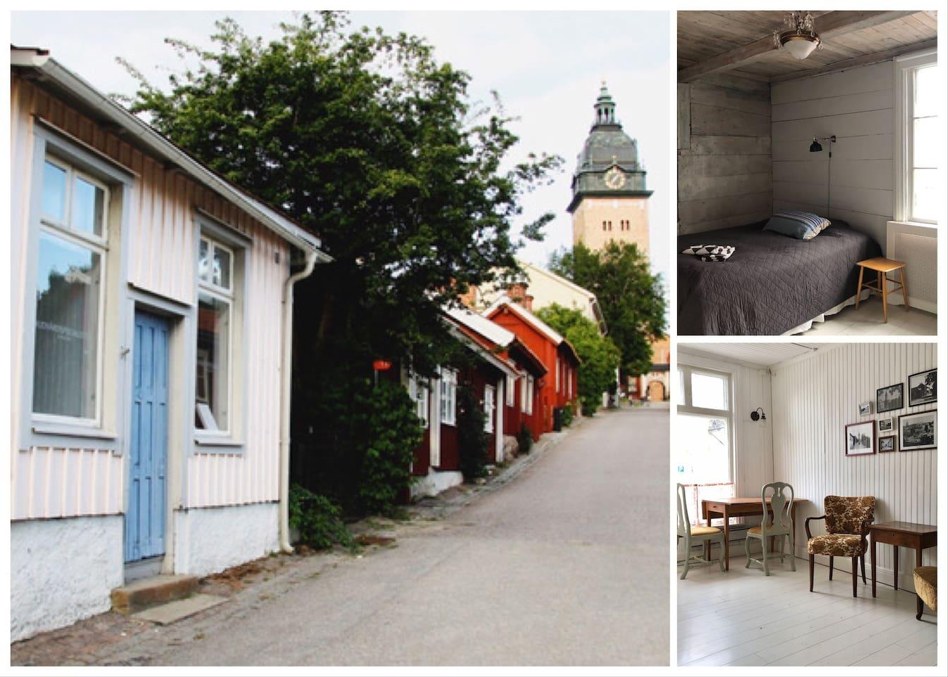 Gästhuset ligger på Gyllenhjelmsgatan, känt som Sveriges vackraste gata. Ingång blå dörren.