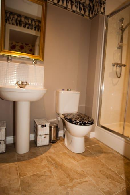 En suite double shower - sink and loo -