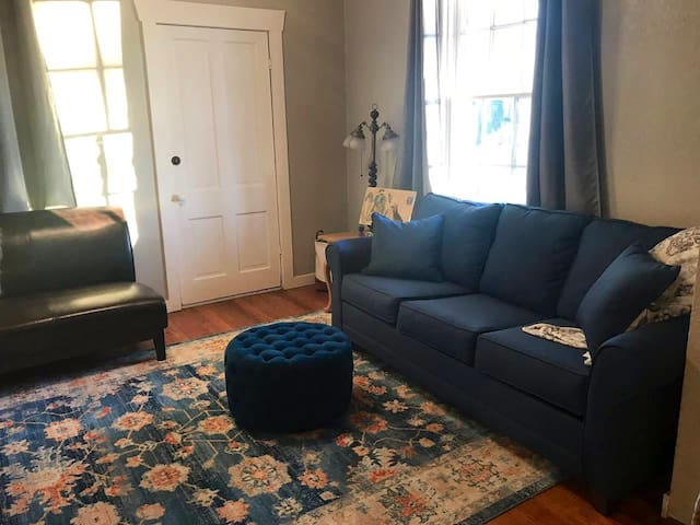 The Living room with a 55 inch TV and queen sized sleeper sofa