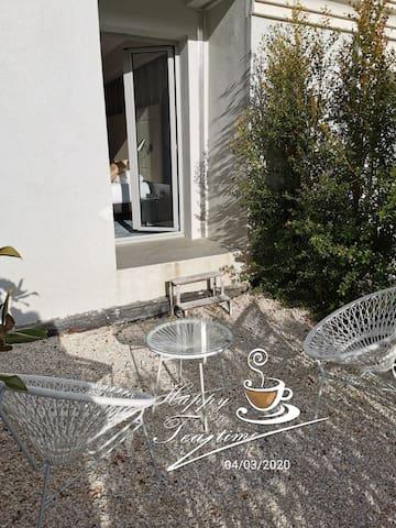 Chambre luxe climatisée avec jardinet 2 pers.