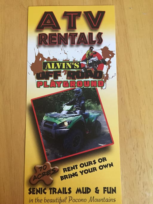 Bring your ATV or rent one 70 miles of fun to ride on
