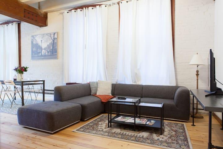 Living area with flatscreen smart TV.