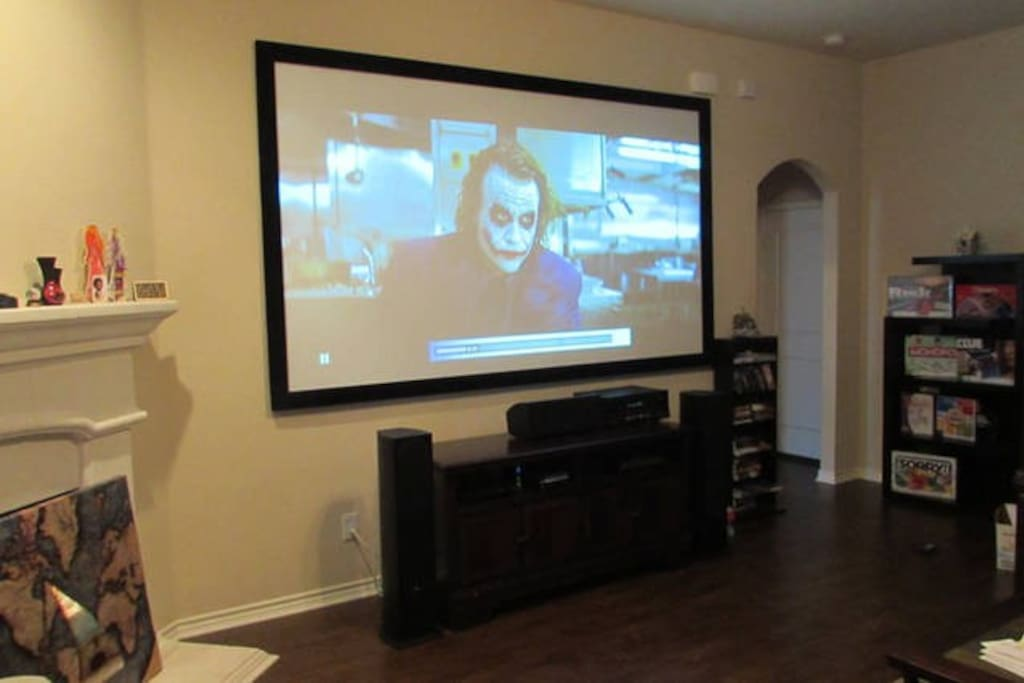 Living Room projector with lights on