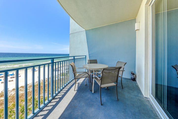 Gulf-front condo w/ private balcony, beach access & shared hot tub/pool/gym!