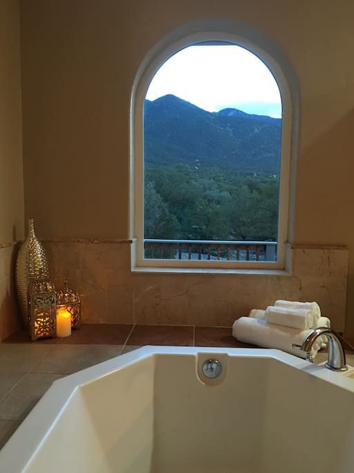 A soaker tub in the master bath is perfect for mountain viewing. Enjoy star gazing in the evening.