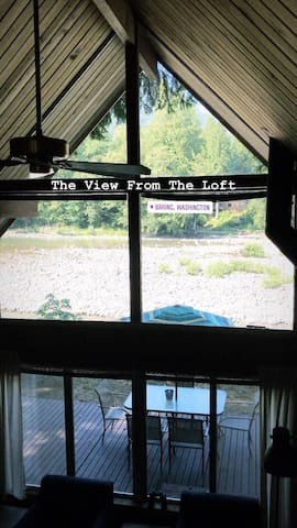 View from the upstairs loft overlooking the Skykomish river