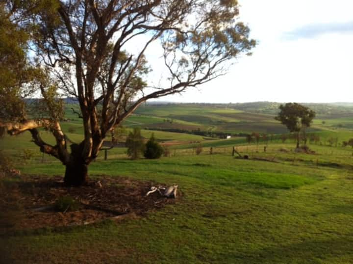 Panoramic country views just minutes from town. B